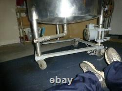 Used Stainless Steel 88 Gal. Mixing Tank With Lid On Stand With Drain