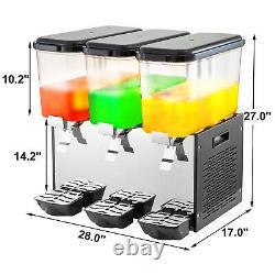 VEVOR Commercial Juice Dispenser 14.25 Gal Beverage Dispenser Ice Drink 3 Tanks