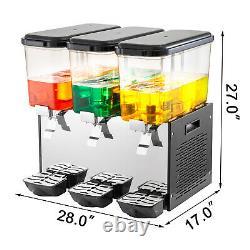 VEVOR Commercial Juice Dispenser 14.25 Gallon 3 Tanks Cold Beverage Ice Drink